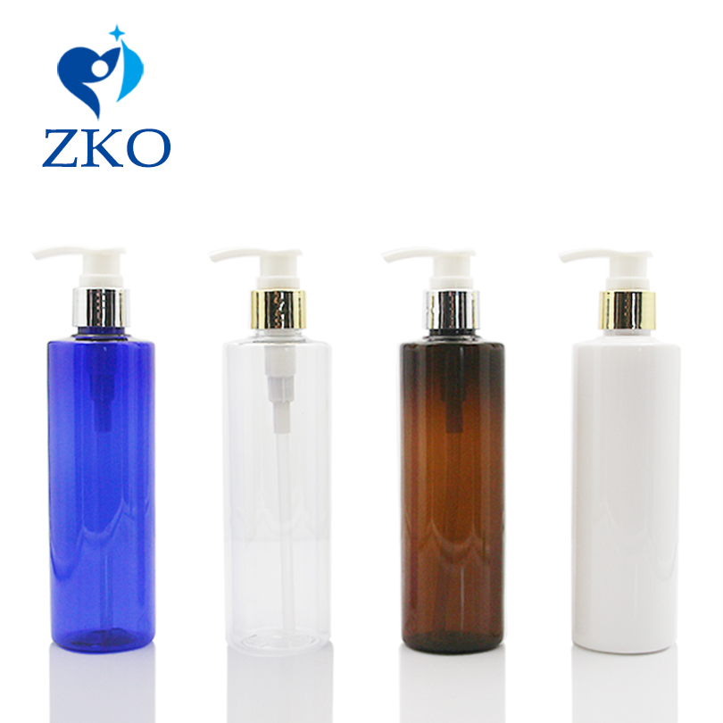 1 Pcs Free Shipping 250ml Cream  Bottle With Shinny Golden Aluminum Shell Shampoo Lotion Dispenser Pump  Refillable Bottle