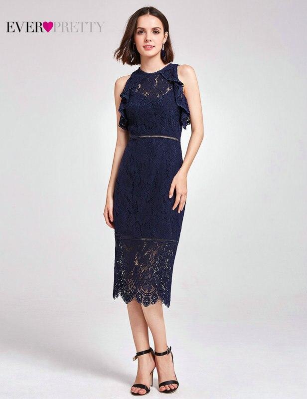 Новое Поступление Коктейльные платья Ever Pretty AS05921NB женские Дешевые трапециевидные кружевные платья с коротким рукавом и вырезами размера плюс Скромные Вечерние платья - Цвет: AS05920NB