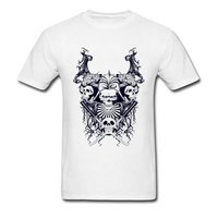 100% Cotton T Shirt Man Tshirt Crazy Samurai Skulls T shirt Halloween Custom Horror Tops Fitness Male Tees Short Sleeve Clothes