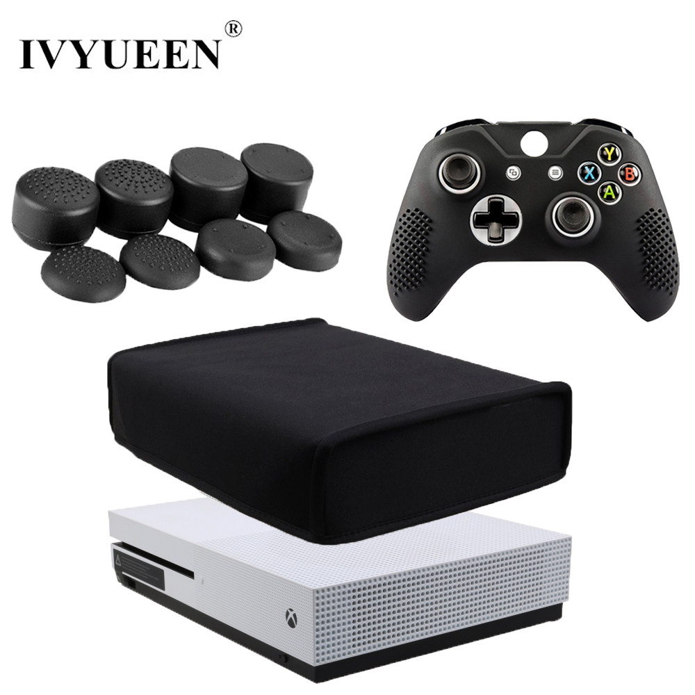 IVYUEEN 10 in 1 For <font><b>Xbox</b></font> One S Slim Console Dust Proof Cover with 8 Stick Caps Grips for X Box ONE S Controller Silicone Case
