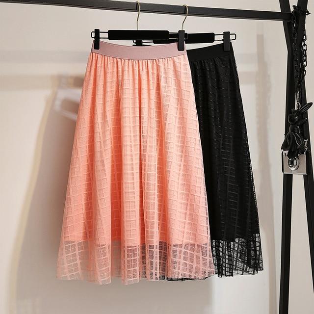 Women's Skirts 3XL4XL Plaid Mesh Lace Knee A Line Skirt Elegant Black High Waist Summer 2019 Skirt Women Clothing Plus Size 6XL