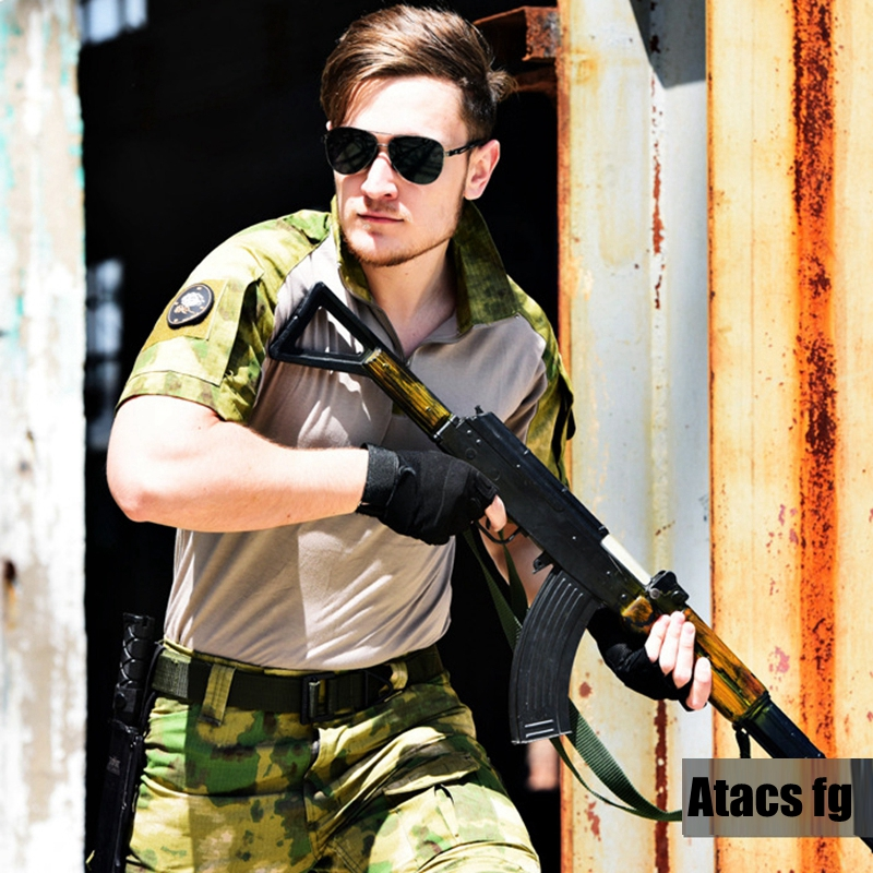 Atacs FG Military Tactical Hunting Camouflage Combat Uniform Airsoft Short Shirt Pants with Knee Pads
