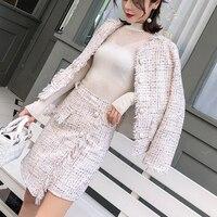 Fashion OL 2 Pieces Set Women Tweed Suits Autumn Winter Jackets Vintage Fringe Tassel Coat + Irregular Mini Skirt Woman Suit