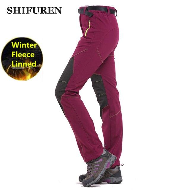 88b6e58c030 SHIFUREN Winter Thermal Women Fleece Softshell Pants Waterproof Outdoor  Mountain Hiking Pants Camping Trekking Sports Trousers