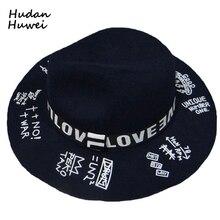 Женская и Мужская шерстяная фетровая шляпа в винтажном стиле унисекс с широкими полями мягкая фетровая шляпа в джазовом стиле с буквенным принтом граффити официальная верхняя шляпа для взрослых GH-569