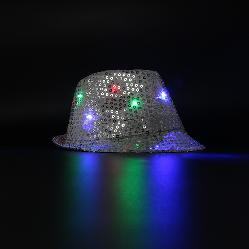 5400bcee3ae LED Sequin Cowboy hat Silver Jazz Hip-hop Show flash colorful cool Special  Halloween Bar adult or kids glitter party toy hats
