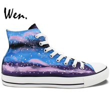 Wen Hand Painted Shoes Original Design Custom Pink Blue Galaxy Women's High Top Canvas Sneakers for Gifts