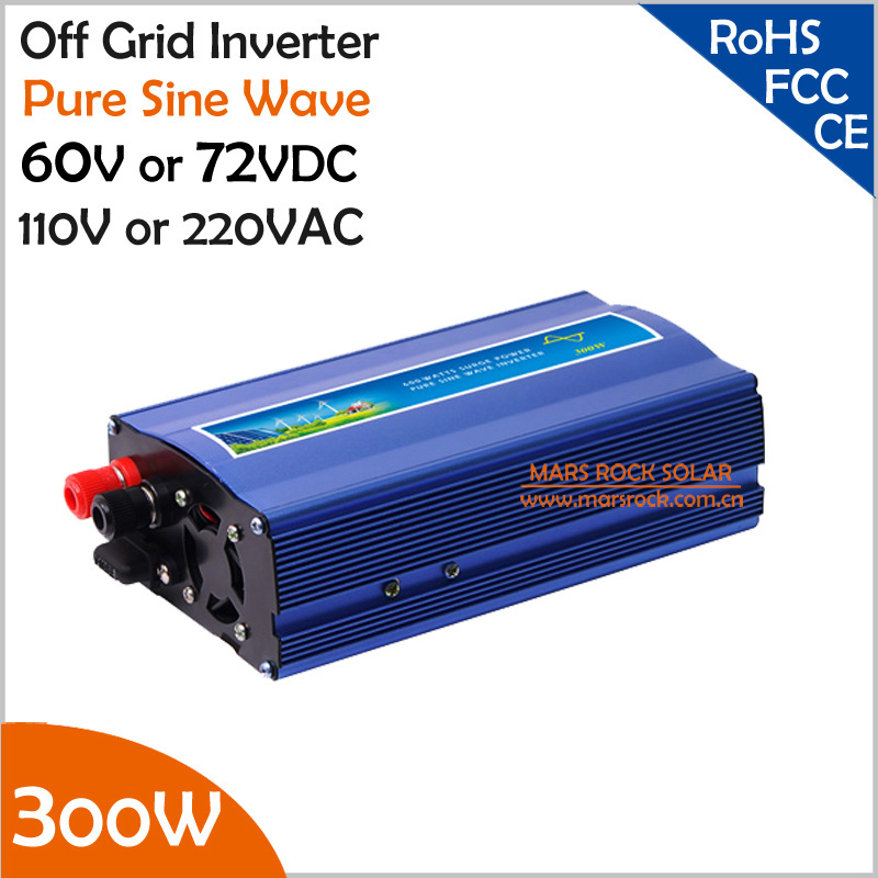 60V/72VDC 110V/220VAC 300W Off Grid inverter, surge power 600W pure sine wave inverter, working for solar or wind power system free shipping 600w wind grid tie inverter with lcd data for 12v 24v ac wind turbine 90 260vac no need controller and battery