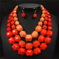 African beads jewelry set 2016 big chunky necklaces collier nigerian wedding african beads jewelry set resin choker for women