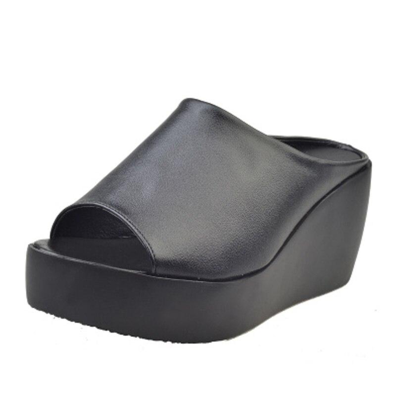 Mund Fisch High weiß Aa10121 Schwarzes Keile Dicken Heels Sandalen Hausschuhe Sommer Frauen Damen Plattform Boden Slides 4q0fxW1HUw