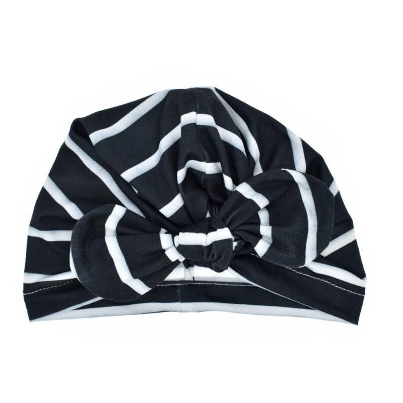 ออกแบบใหม่น่ารักเด็กหมวกผ้าฝ้ายนุ่ม Turban Knot สาวฤดูร้อนหมวกพิมพ์โบว์เด็กหมวกเด็กแรกเกิดสำหรับทารก