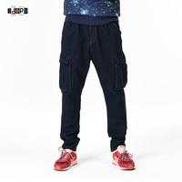 Classic Plus Size uomo Cargo Jeans Con Patchwork Pocket Baggy Denim Pantaloni Blu Scuro Sciolti Etero Jean Pantaloni Per uomini