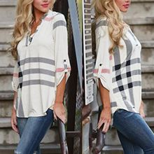 Women's Lady Loose Clothing Casual Blouse Tops Plaid Loose Autumn Clothing New Fashion Blouse