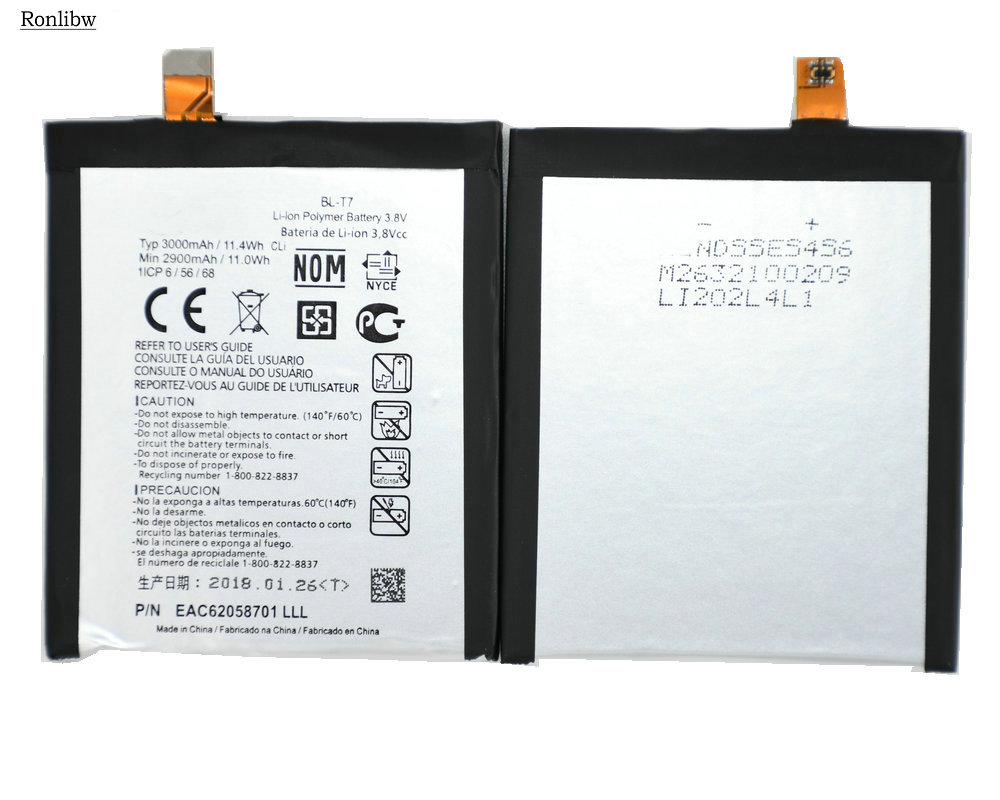 Ronlibw 3000mAh battery Replacement For <font><b>LG</b></font> D802 D800 D803 Optimus G2 P693 <font><b>T7</b></font> VS9801 <font><b>BL</b></font>-<font><b>T7</b></font> Battery genuine batterie image