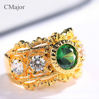 CMajor pure silver jewelry elegant vintage palace style rings with green stone rings for women