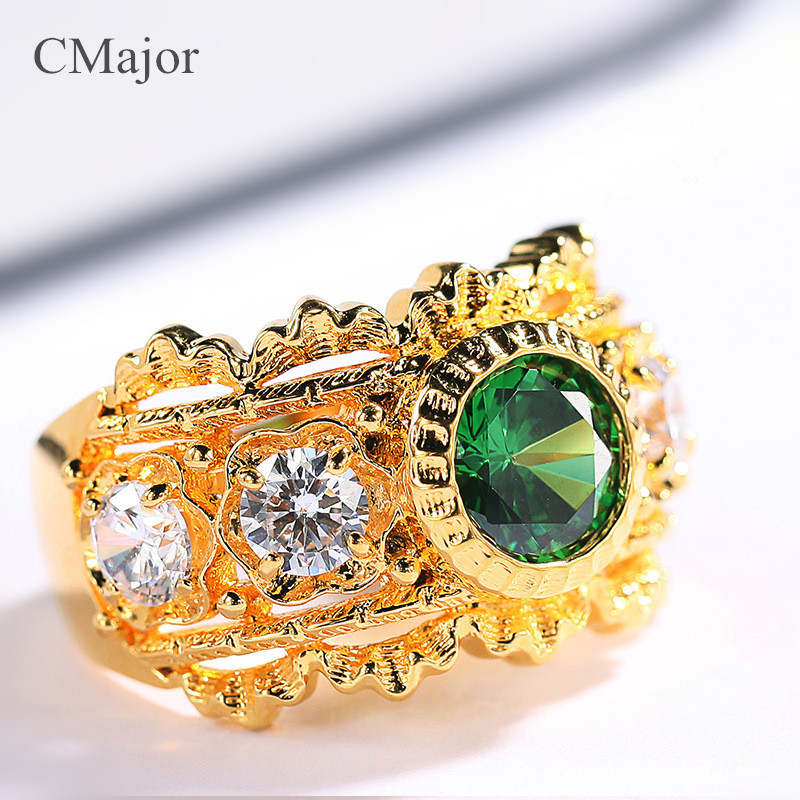 CMajor pure silver jewelry elegant vintage palace style rings with green stone rings for womenCMajor pure silver jewelry elegant vintage palace style rings with green stone rings for women