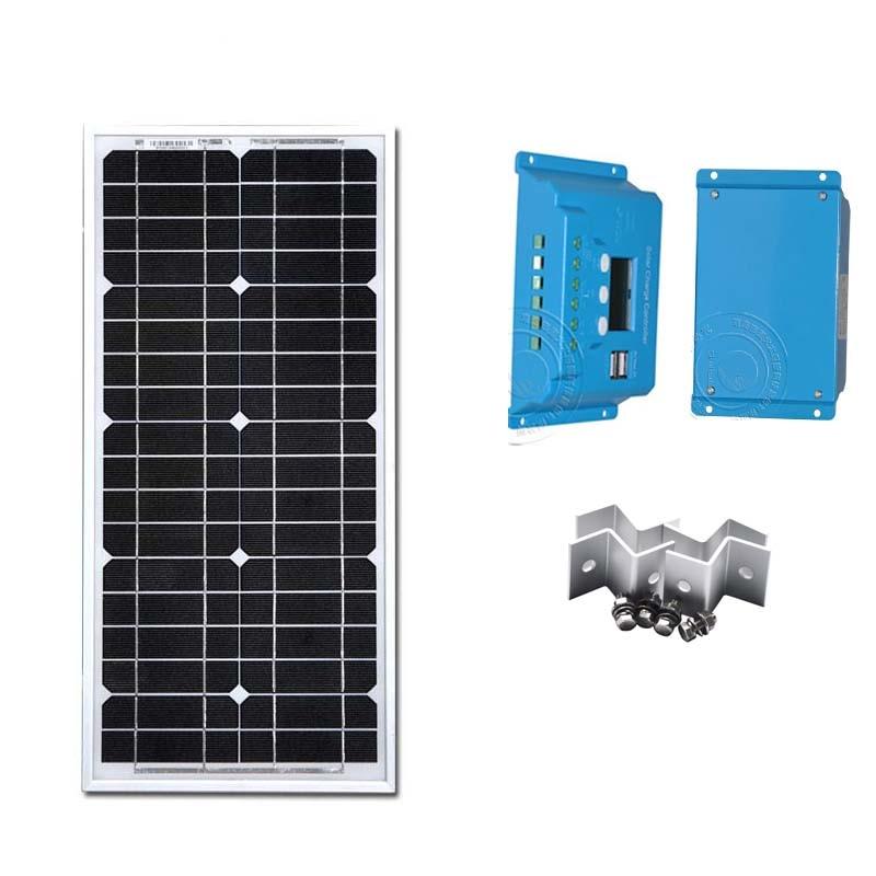 Solar Panels 12V 20W Monocrystalline PV Panel Controller 12v/24v 10A  PWM LCD Dispaly Z Bracket Battery ChargerCamping Trip 100w 12v monocrystalline solar panel for 12v battery rv boat car home solar power