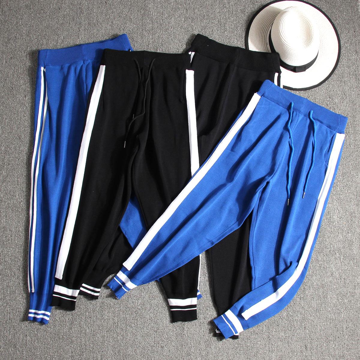 Automne porter super-feu mince tricot neuf cent pantalon serré taille casual étudiant pantalon Harlan pantalon sport pantalon