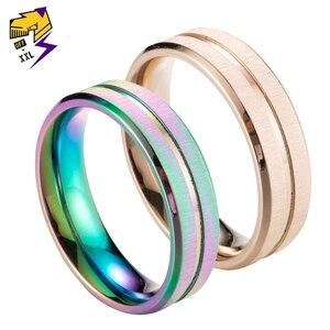 Женское матовое кольцо из нержавеющей стали Anillo, модное Радужное кольцо для свадьбы цвета розового золота, ювелирные изделия