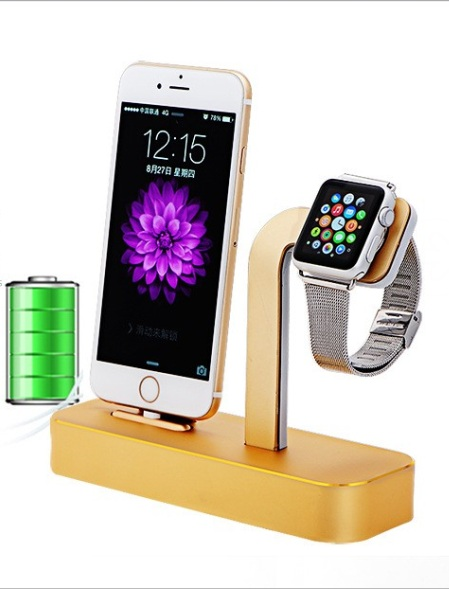 New Arrival 2 in 1 Aluminium For Apple Watch Desktop Stand Holder Charging Dock Charger Station