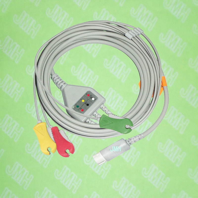 Compatible with PHILIPS(HP) ECG Machine, One-piece ECG cable and leadwires,3 Lead,Clip,AHA or IEC.HP 12pin,Straight connector.Compatible with PHILIPS(HP) ECG Machine, One-piece ECG cable and leadwires,3 Lead,Clip,AHA or IEC.HP 12pin,Straight connector.