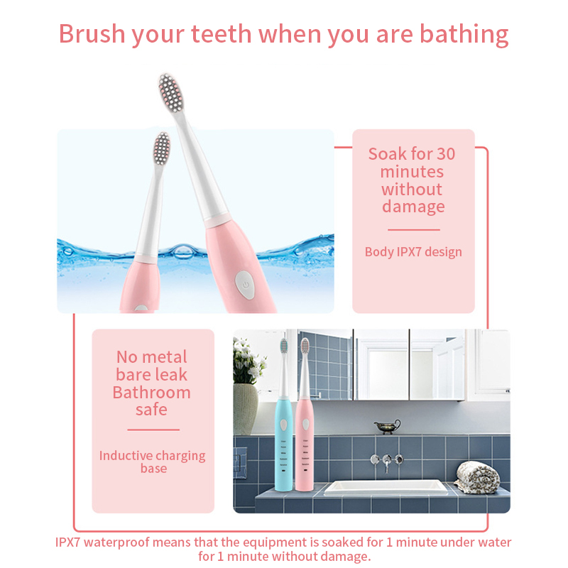 Electric Toothbrush USB Rechargeable Automatic Tooth Brush Sonic Waterproof Cleaning with 4 Replacement Head in Electric Toothbrushes from Home Appliances