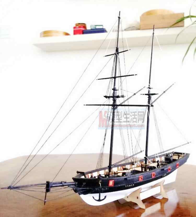 LOVE MODEL Free shipping 1:100 Scale Wooden Sailboat Halcon1840 Model Ship + life boat + Brass updates kits