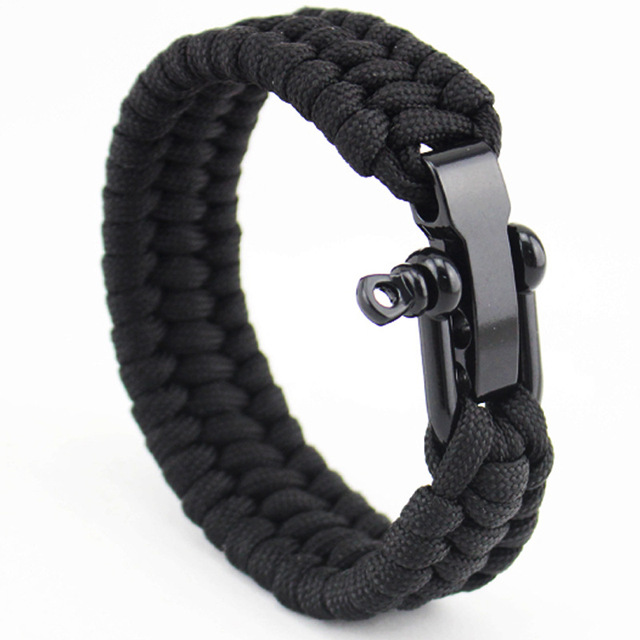 New Arrival Mens Stainless Steel Anchor Shackles Black Leather Bracelet Surf Nautical Sailor Men Wristband Fashion