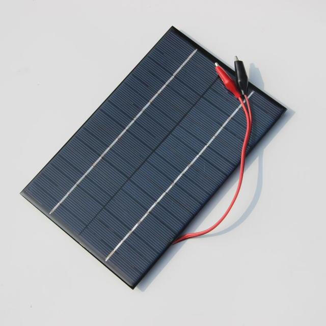 BUHESHUI  4.2W 18V Solar Cell Polycrystalline Solar Panel+Crocodile Clip For Charging 12V Battery 200*130*3MM NEW Free Shipping