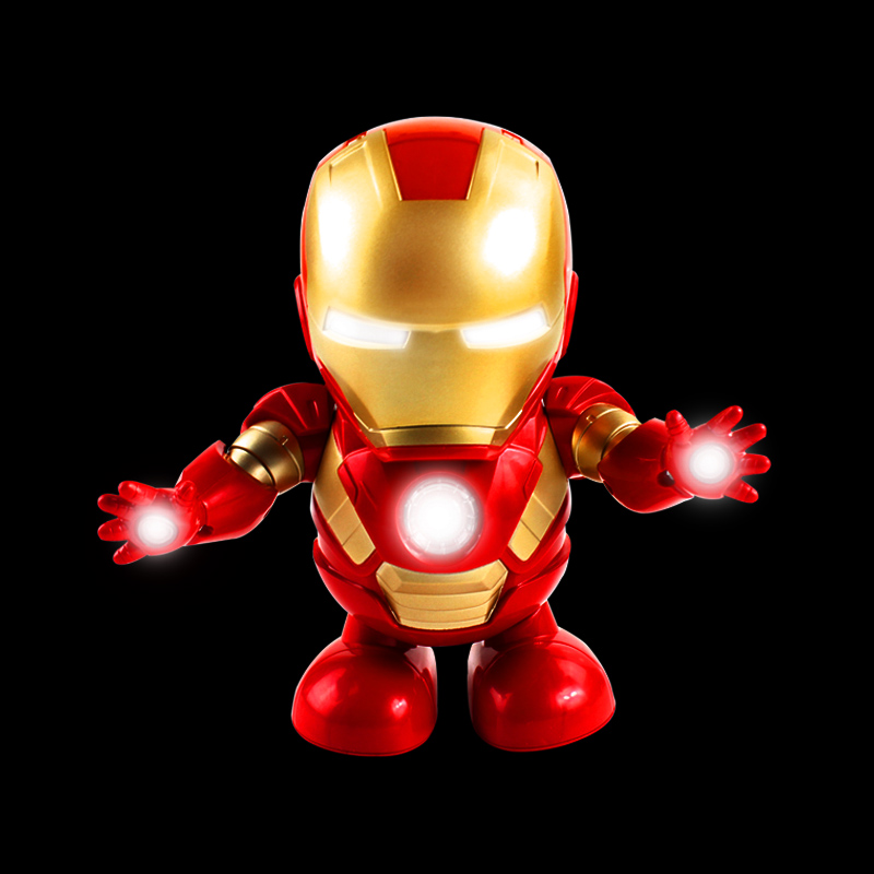 Marvel New Hot Avengers Toys Dancing Iron Man Robot With Music Flashlight Tony Stark Electric Action Figure Toy For Kids Gift