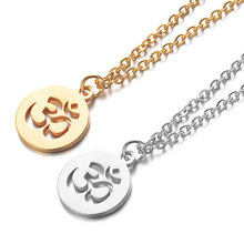 2019 316L Stainless Steel OM Symbol Pendant Necklace Gold Silver Tone Yoga Long Chain Jewelry for Women Men