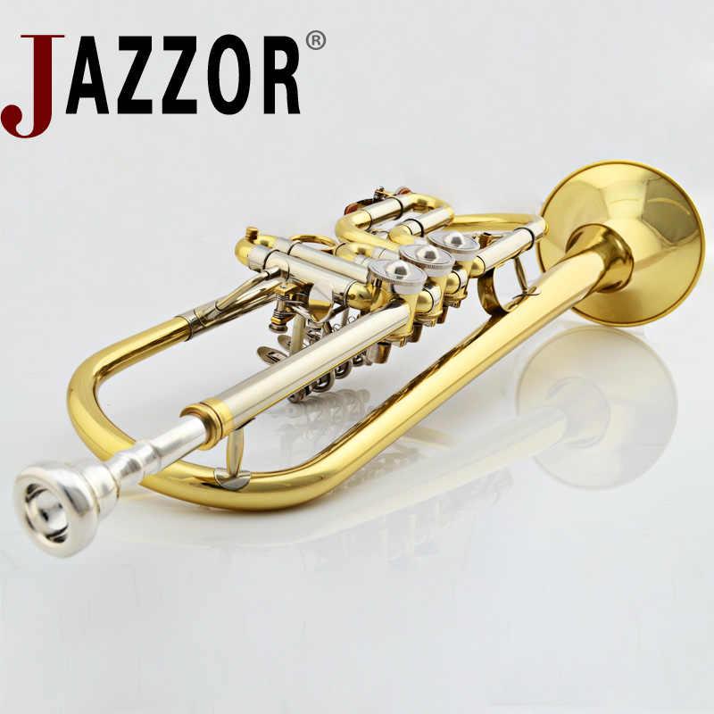 JAZZOR JBTR-440 profesional B trompeta plana trompeta llave plana con boquilla caso viento instrumentos