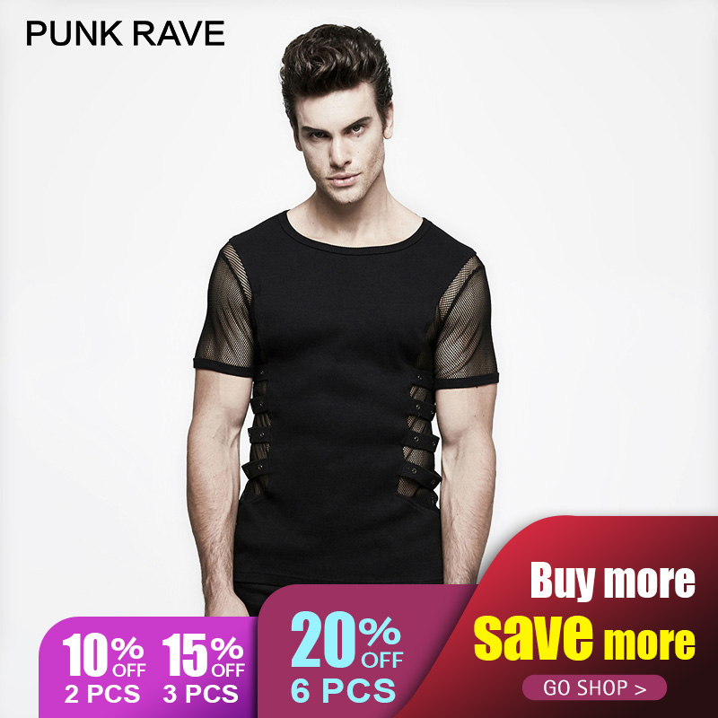 PUNK RAVE Personality Punk Rock T-shirt Men Black Knitted Street Mesh Sexy  Tee Shirt Top Steampunk Metal Black Top Sexy Gothic d50e1bfafa5