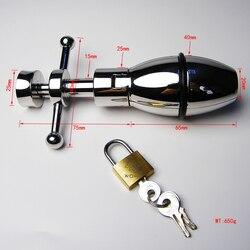 Rvs Verstelbare Anale Plug Butt Plug Lock Anale Dilatator Seksspeeltjes Metalen Mannelijke Kuisheidsgordel Anus Uitbreiding Volwassen Spelletjes