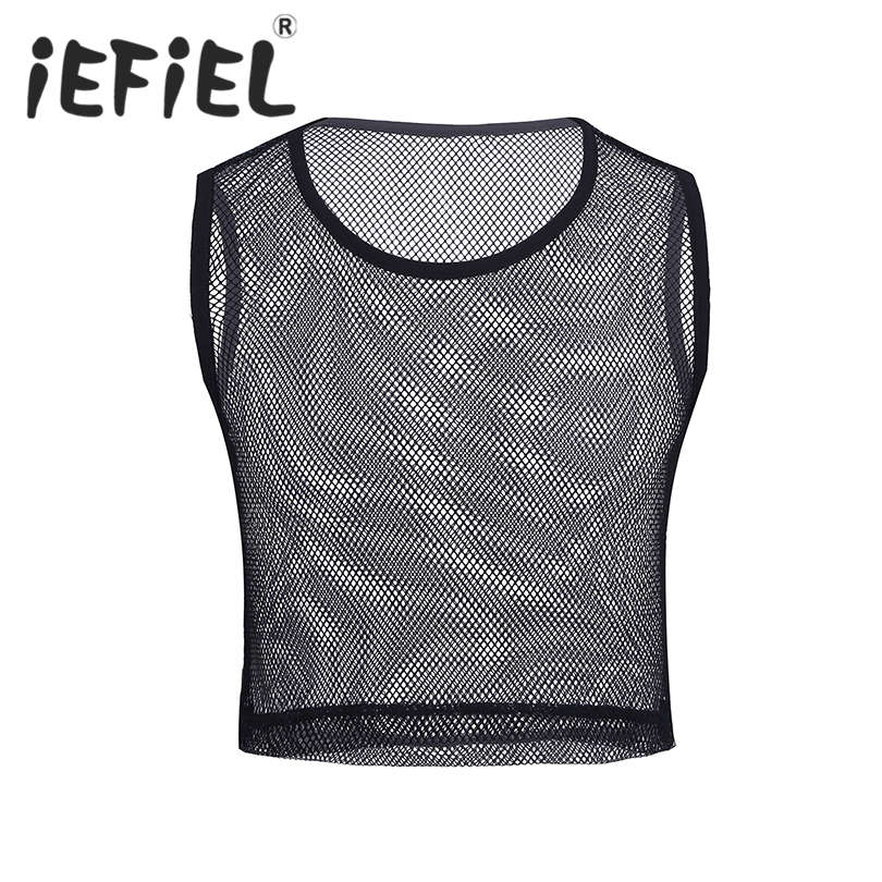 New Arrival Male Nightwear T Shirt Mens Sleeveless See-through Mesh Fishnet Muscle T-Shirt for Party Clubwear Cosplay Costumes