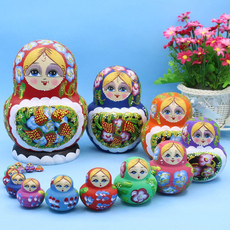 15 pièces 20 cm Poupées Russes En Bois De Dessin Animé Traditionnel Matryoshka Poupées pour Bébé Enfants Jouet et Cadeau - 2