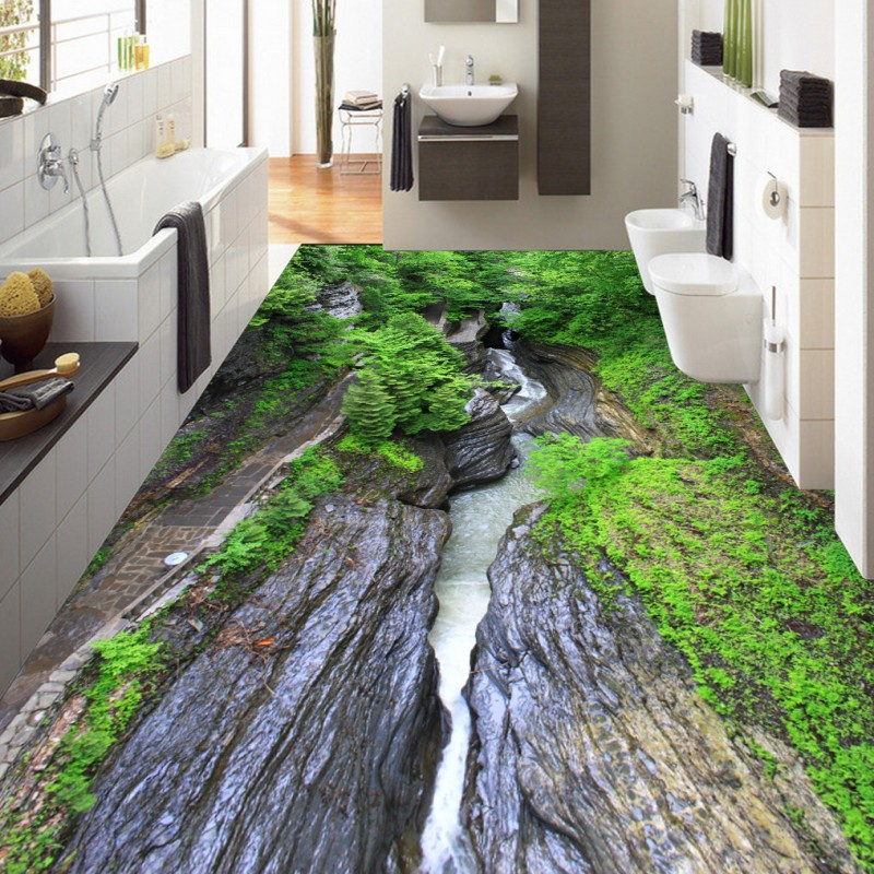 Free Shipping Green Grand Canyon flowing water floor stickers thickened non-slip bedroom square bathroom lobby flooring mural