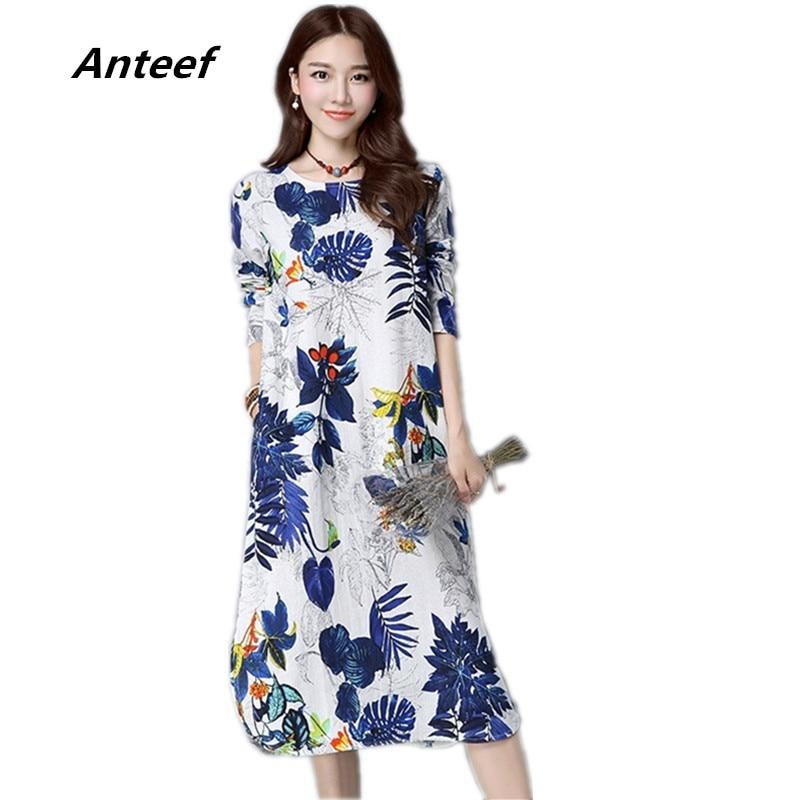 92a1b0accad2 new fashion cotton linen vintage print plus size women casual loose long  autumn dress vestidos femininos party 2017 dresses