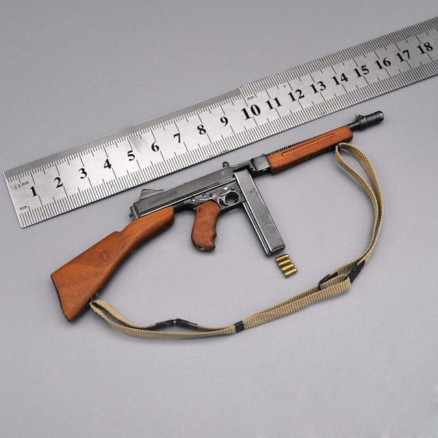 US $25 0  World War II Metal Solid Wood Thomson Submachine Gun Model 1/6  Scale Model Soldier Accessories US Military Weapon Model-in Action & Toy
