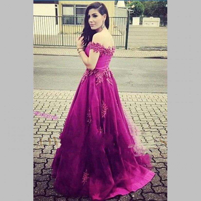 Boat Neck Off The Shoulder Purple Prom Dresses 2017 Empire Waistline ...