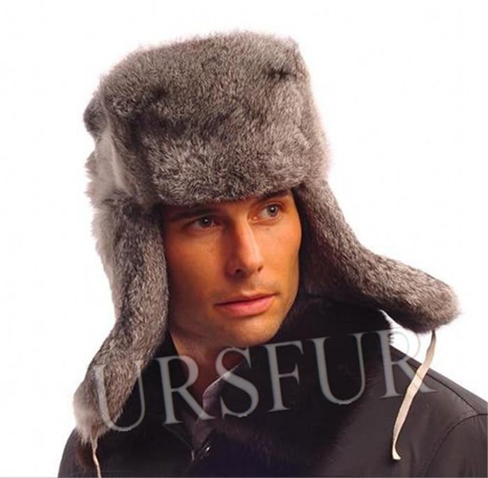f4ab0c05c9f Fashion Ursfur Real Rabbit Full Fur Winter Men s Ear Flap Russian Ushanka Hat  Men Fur Earflap Beanies Skull Caps Free Shipping-in Holidays Costumes from  ...