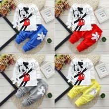 Одежда для маленьких мальчиков с Микки Маусом; комплект одежды для новорожденных девочек; весенний спортивный комплект одежды для маленьких девочек; Roupas Bebe; хлопковая одежда для детей