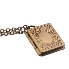 1pc Fashion Carved Vintage Style Delicate Imitation Book Locket Necklace Secret Hiding Place Photo Locket Necklace Photos Box