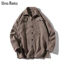 Una reta 남자 셔츠 가을, 봄 새로운 브랜드 힙합 레트로 옷깃 셔츠 남자 패션 streetwear 격자 싱글 브레스트 셔츠