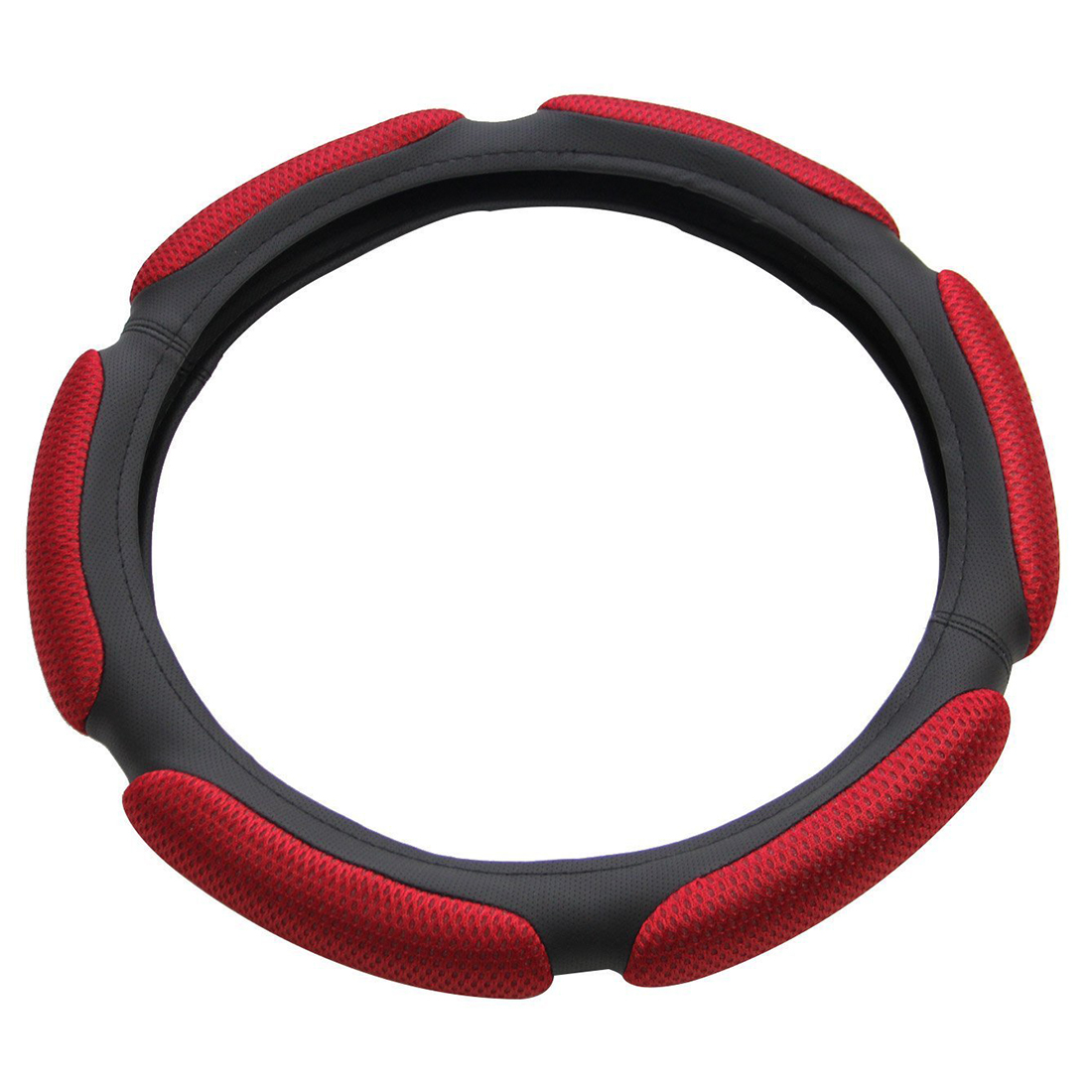 Air Mesh and Foam Padded Universal Steering Wheel Cover Fits 15 inches Steering Wheel Red