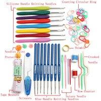 33 PCS Crochet Hooks Knitting Needle Hook Needles Set Tools Crooked Needle Row Counter With Storage