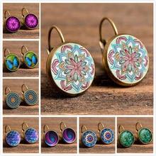 18 Styles Vintage Retro Earrings For Women Party Jewelry Fashion Patten Flower Stud Earrings Gold Color