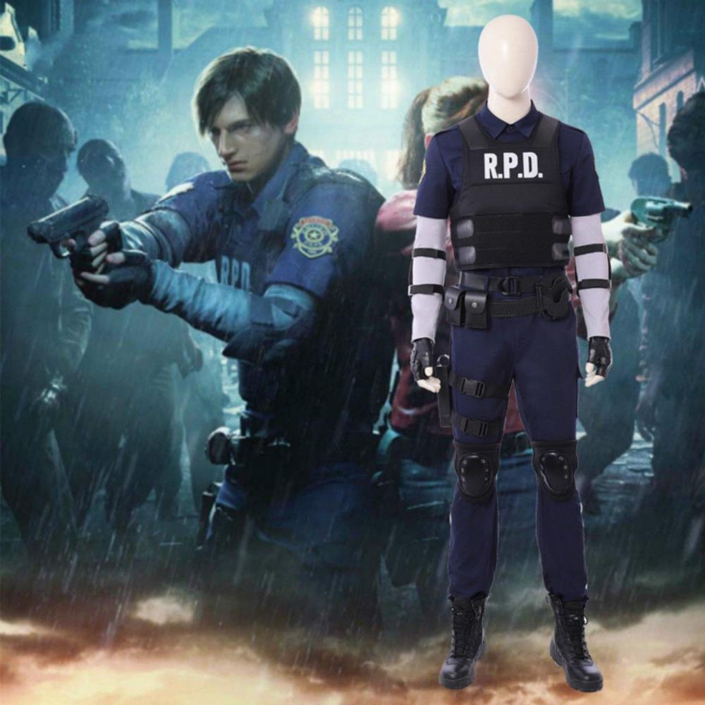 Resident Evil 2 Cosplay Costume Leon Scott Kennedy Halloween Suit Accessories