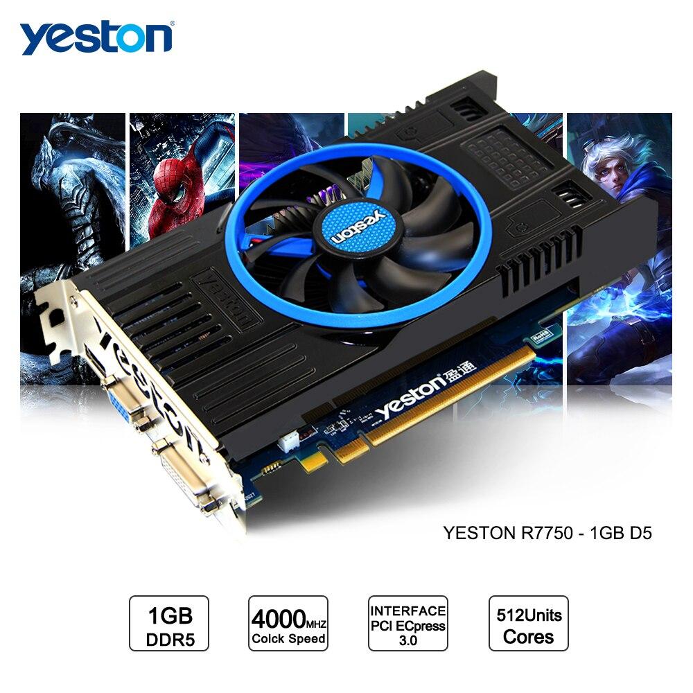 Yeston Radeon R7750 GPU 1GB GDDR5 128bit Gaming Desktop computer PC Video Graphics Cards support VGA/DVI/HDMI PCI-E X16 3.0 yeston geforce gtx 1050 gpu 2gb gddr5 128 bit gaming desktop computer pc video graphics cards support pci e x16 3 0