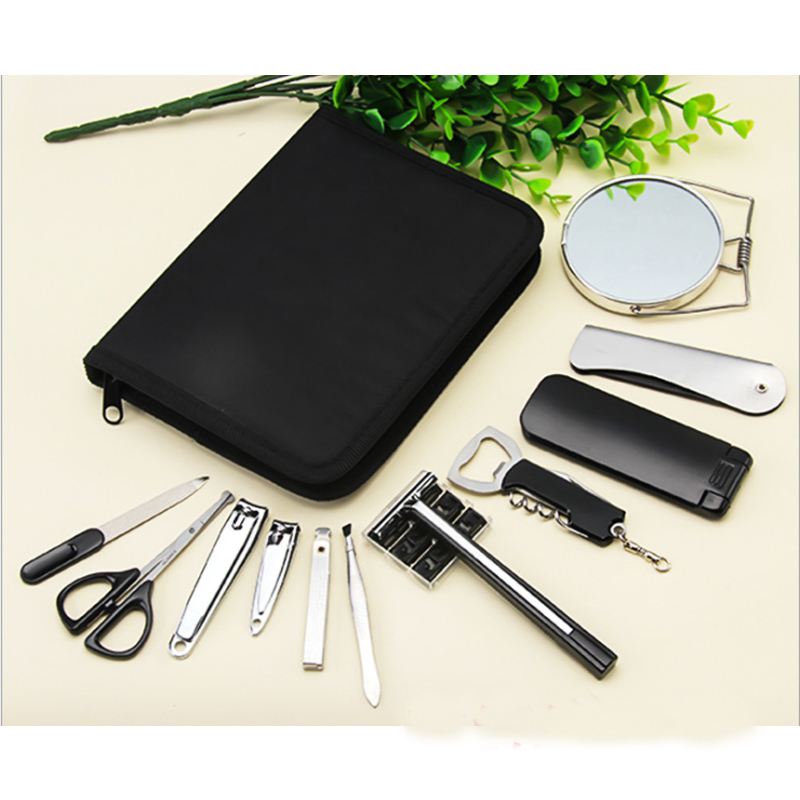 12Pcs/set Men Boy Travel Professional Nail Manicure Set Grooming Kit Include Nail Clipper Tweezer Mirror Nail File Razor Scissor stainless steel pedicure manicure set nail clipper scissors nail care nipper cutter cuticle grooming kit